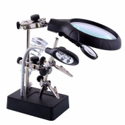 Neon® 2.5X 7.5X 10X LED Light Magnifier & Desk Lamp Helping Hand Repair Clamp Alligator Auxiliary Clip Stand Desktop Magnifying Glasses