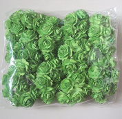 Agility 100 pcs. Green Artificial Mulberry Paper Rose Flower Wedding Scrapbook 1.5cm DIY Craft Scrapbook Scrapbooking Bouquet Craft Stem Handmade Rose Valentines Anniversary Embellishment