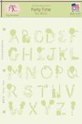 Fairytale Creations Party Time Alphabet Stencil, 20cm - 1.3cm L x 28cm H