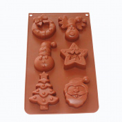 X-Haibei Christmas Holiday Snowman Reindeer Star Santa Claus Soap Muffin Chocolate Silicone Mould Pan