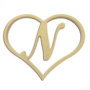 23cm Script Letter N Insert for Home Heart Sign Unfinished DIY Wooden Craft Cutout to Sell Stacked