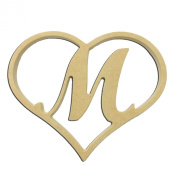 23cm Script Letter M Insert for Home Heart Sign Unfinished DIY Wooden Craft Cutout to Sell Stacked