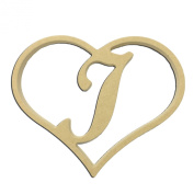 23cm Script Letter J Insert for Home Heart Sign Unfinished DIY Wooden Craft Cutout to Sell Stacked