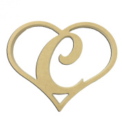 23cm Script Letter C Insert for Home Heart Sign Unfinished DIY Wooden Craft Cutout to Sell Stacked