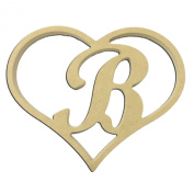 23cm Script Letter B Insert for Home Heart Sign Unfinished DIY Wooden Craft Cutout to Sell Stacked