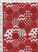 "Riley Blake ""Hexi Print"" Trendy Hexagon Red Fabric"