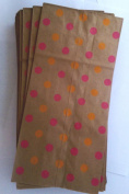 Printed Lunch Paper Party Sacks Pink and Orange Polka Dots on Brown Paper