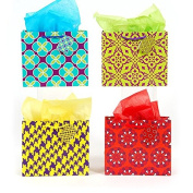 12 PC Horizontal Medium Colour Block Print On Matte Gift Bag, 4 Designs