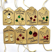 Hand Crafted Brown Button Quality Christmas Gift Tags - 8 Tags (1 Each X 8 Designs) - Size 54mm X 85mm