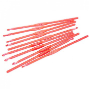 Souarts 10pcs Watermelon Red Acrylic Crochet Hook 4mm US Size 6 UK Size 8 13.8cm