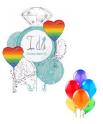 Rainbow Gay Marrige I DO Wedding Ring 12pc Bridal Shower Engagement Balloon Bouquet