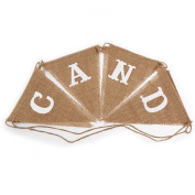Tinksky CANDY BAR Burlap Bunting Banner Wedding Birthday Party Decoration Bunting -8pcs