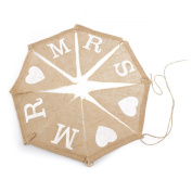 OULII MR MRS Burlap Banner Bunting Wedding Party Decoration - 8pcs Flags