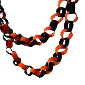 Glitterville Orange Black Glitter Metal Beaded 2.7m Chain Garland