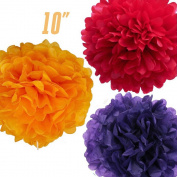 WOMHOPE® 15 Pack - 25cm Tissue Paper Flower Ball Pom-poms - Wedding Party Supplies Decorations Birthday Parties and Baby Showers Party Decorations Party