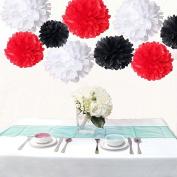 Saitec ® 18PCS Mixed 3 Sizes White Red Black Tissue Paper Pom Poms Pompom Wedding Birthday Party Decoration Baby Shower Favours