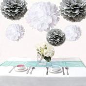 Saitec ® 12PCS Mixed Sizes White & Silver Tissue Paper Pom Poms Pompoms Wedding Birthday Party Decoration Holiday Supplies