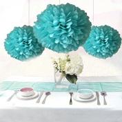 Saitec ® 12PCS Robin Egg Blue Party Tissue Pom Poms Wedding Flowers Birthday Anniversary Paper Hanging Decoration