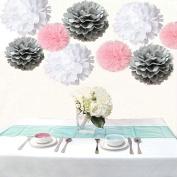 Saitec ® Pack of 18PCS Mixed White Grey Pink Tissue Pom Poms Pompoms Wedding Birthday Party Nursery Decoration