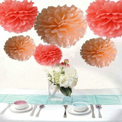 Saitec ® Pack of 12 Mixed Coral Peach Party Tissue Pom Poms Wedding Decorative Flowers Birthday Anniversary Paper Hanging Decoration
