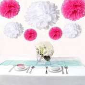 Saitec ® 12PCS Mixed Sizes White & Hot Pink Paper Pompoms Pom Poms Flower Balls Wedding Birthday Party Decoration Holiday Supplies