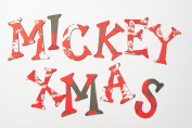 Mickey Mouse Christmas HandCut 3.8cm Chipboard Uppercase Letters Alphabet Stickers set - 62 pieces