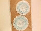 *Dreamy* Teal Layered Paper Flowers with Pearl Centre Embellishment