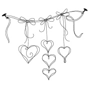 Gourmet Rubber Stamps Cling Stamps 11cm x 16cm 5 Dangling Hearts