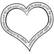 Gourmet Rubber Stamps Cling Stamps 11cm x 16cm Outline Word- Heart