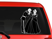 Cinderella and the Prince children story book characters silhouette artwork for car truck laptop macbook vinyl decal sticker 15cm white