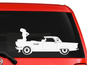 Sexy girl sitting on a classic car silhouette artwork picture car truck laptop macbook window vinyl decal sticker 15cm white