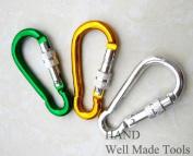 "Set of 3 Aluminium Alloy Screw Lock Carabiner Spring Snap Link Hook - 68mm 2.7"""