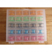 Sewing Bobbins Singer Plastic Case Box + 25 Sewing Machine Empty Bobbins Organiser Storage Sewing Thread Large Bobbins