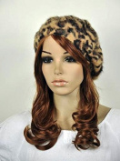 Sexy Leopard Warm Rabbit Fur Women's Winter Beret Hat Beanie Ski Cap Brown