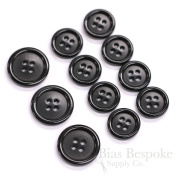 Set of 11 Classic Black Real Corozo Suit Buttons, Made in Germany