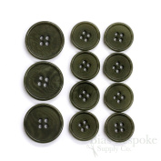 Set of 11 Refined Dark Green Corozo Suit Buttons, Made in Italy