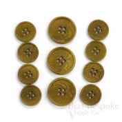 Set of 11 Refined Golden Brown Corozo Suit Buttons, Made in Italy