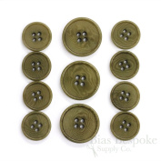 Set of 11 Refined Olive Green Corozo Suit Buttons, Made in Italy