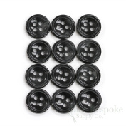 Set of 12 Black Shirt Buttons, Made in Italy