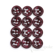 Set of 12 Burgundy Shirt Buttons, Made in Italy
