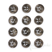 Set of 12 Dark Brown Shirt Buttons, Made in Italy