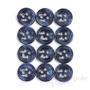 Set of 12 Dusk Blue Shirt Buttons, Made in Italy