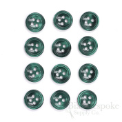 Set of 12 Emerald Shirt Buttons, Made in Italy