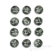 Set of 12 Grey Green Shirt Buttons, Made in Italy