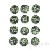 Set of 12 Moss Green Shirt Buttons, Made in Italy