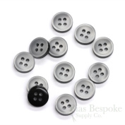 Set of 12 Thick Pale Grey Shirt Buttons with Dark Sides, Made in Italy