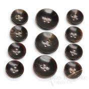 Set of 11 Modern Dark Brown Genuine Horn Suit Buttons