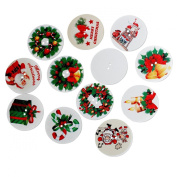 Souarts Mixed Random Christmas Pattern Round 2 Holes Wooden Button Pack of 50pcs