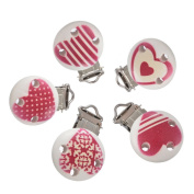 Souarts Mixed Random Wooden Infant Soother Clip Red Heart Pattern Pack of 5pcs