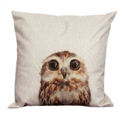 Wensltd Vintage Owl Flaxen Pillow Case Sofa Cushion Cover